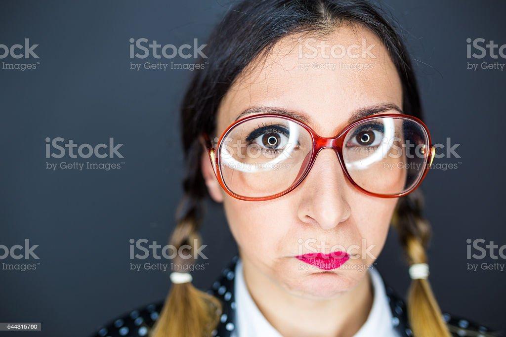Sad nerd girl stock photo