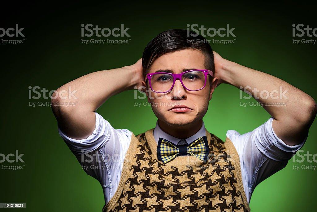 sad nerd royalty-free stock photo