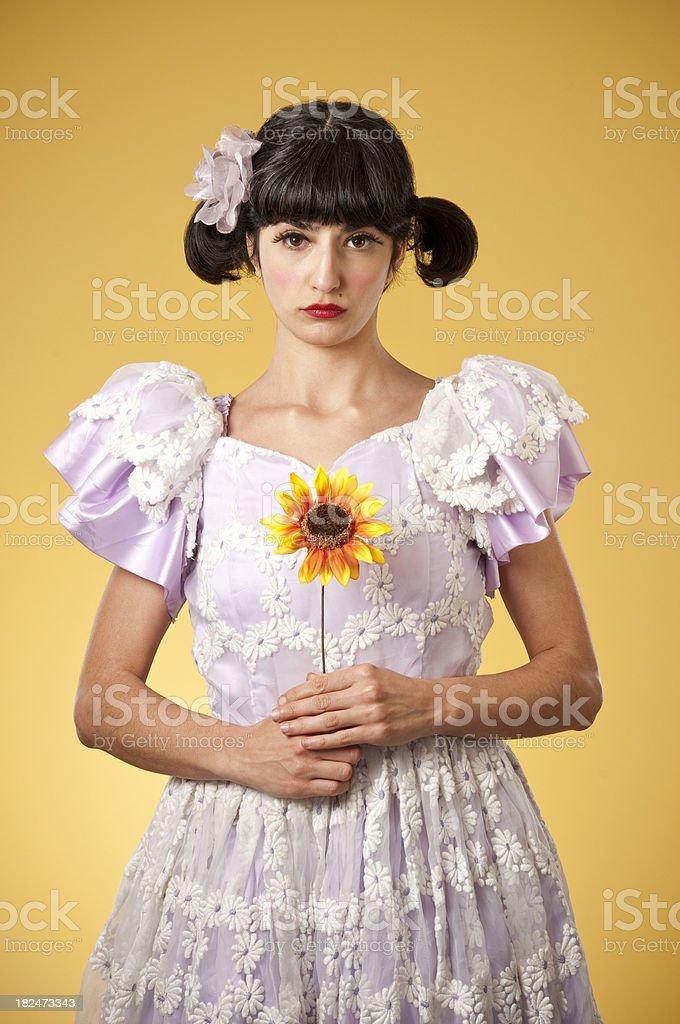 Sad Nerdy Princess With Sunflower royalty-free stock photo