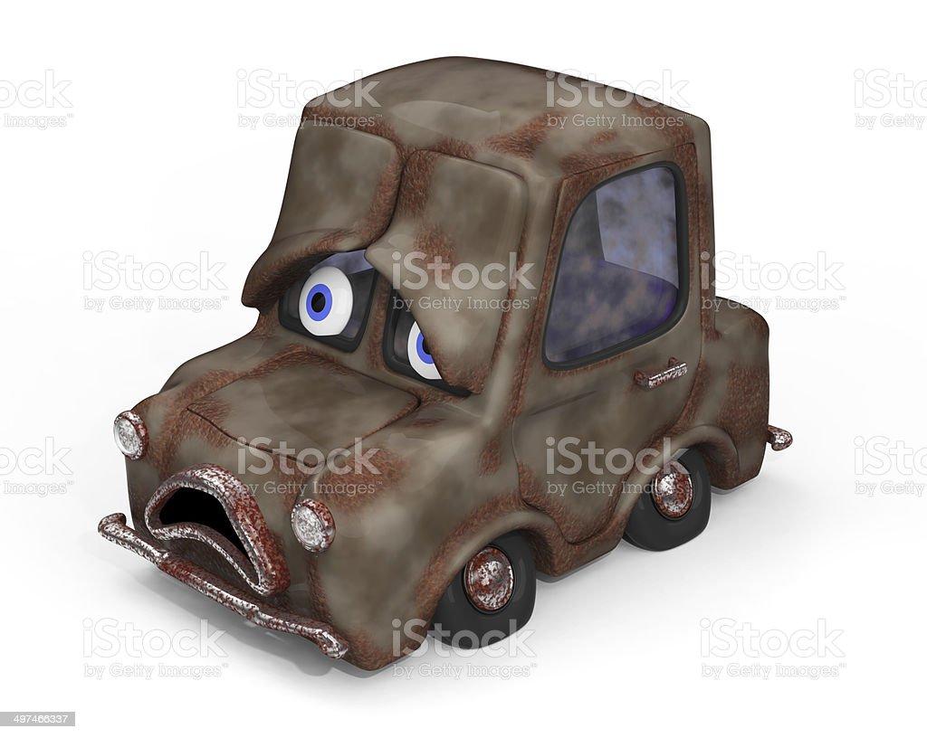 Sad, old, unloved, rust bucket  car 3D illustration stock photo