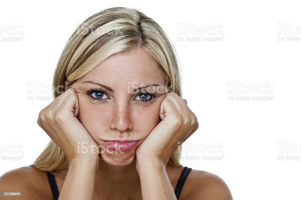 Sad or pouting girl royalty-free stock photo