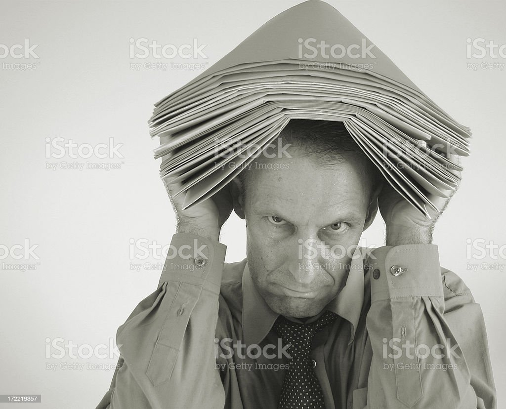 sad overworked office worker royalty-free stock photo