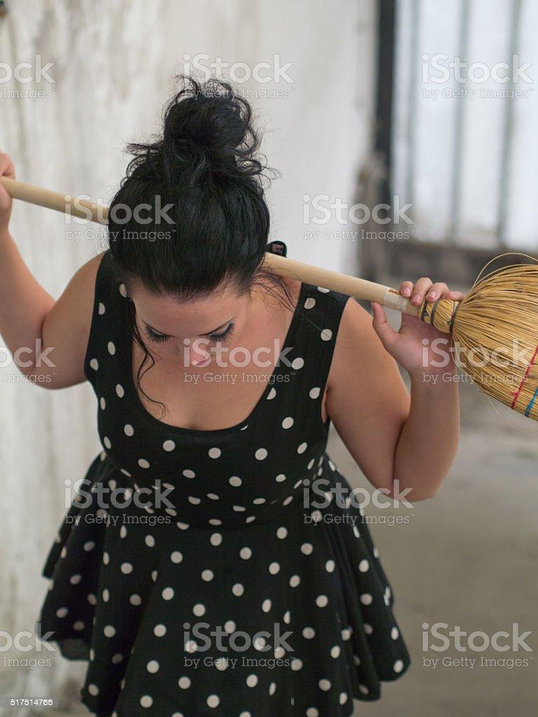sad pin up girl stock photo