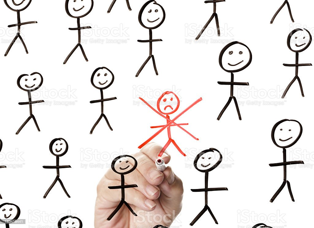 Sad red stickman among several happy black stickmen stock photo