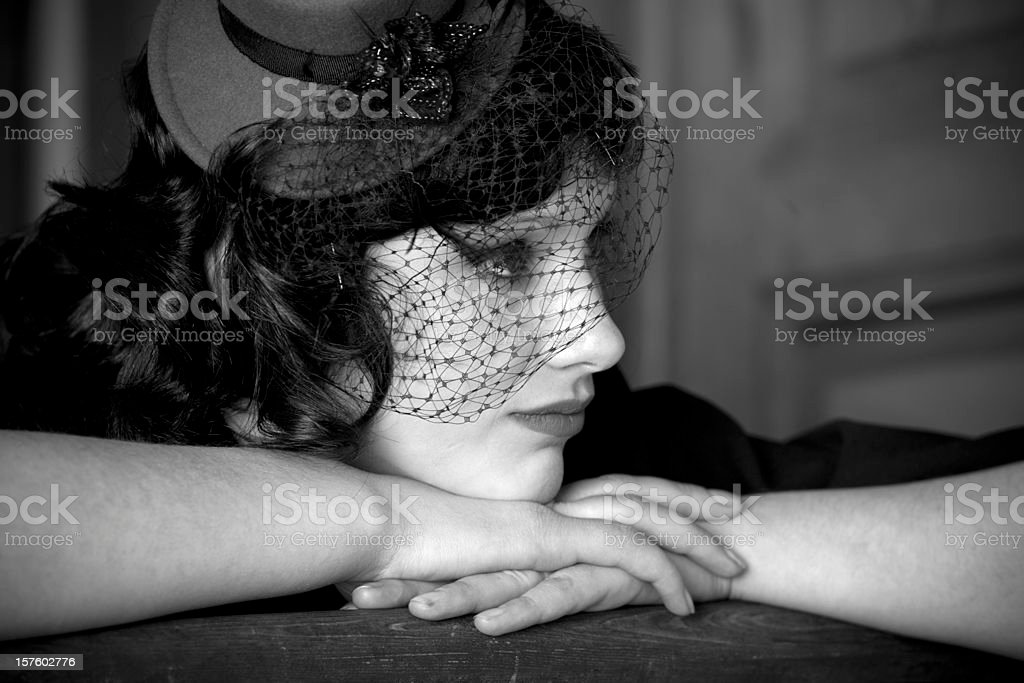 Sad retro styled woman royalty-free stock photo