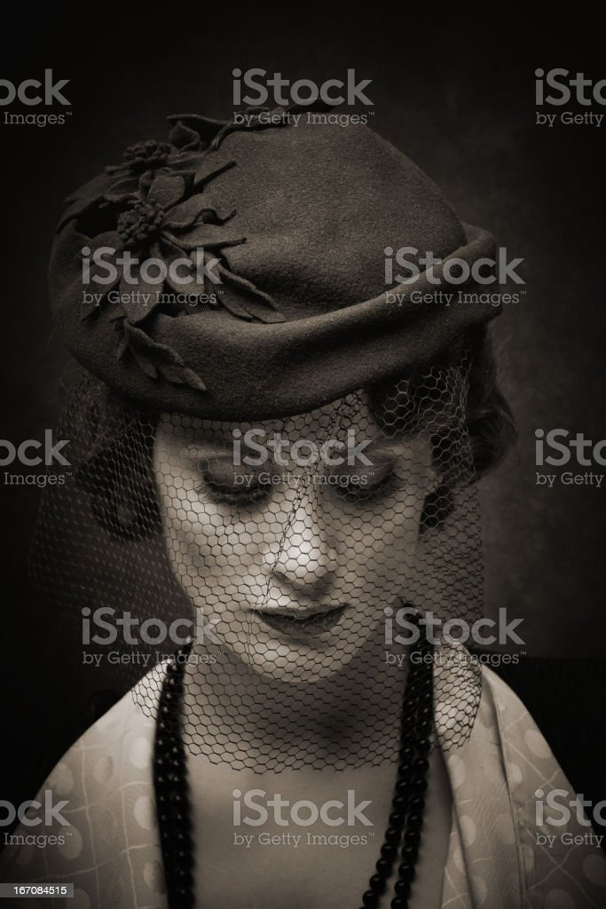 sad retro woman royalty-free stock photo