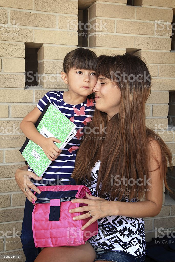 Kindergarten student with sad expression on her first day of school.