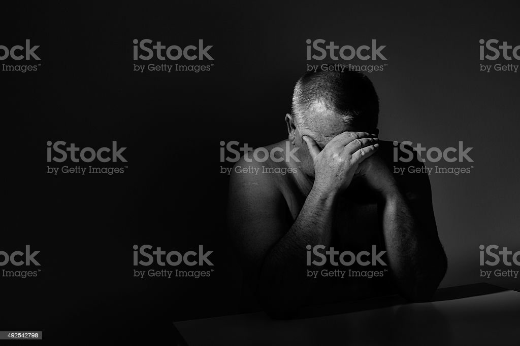 Sad senior stock photo
