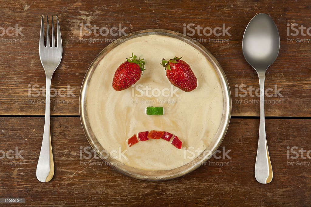Sad smiley fruit stock photo