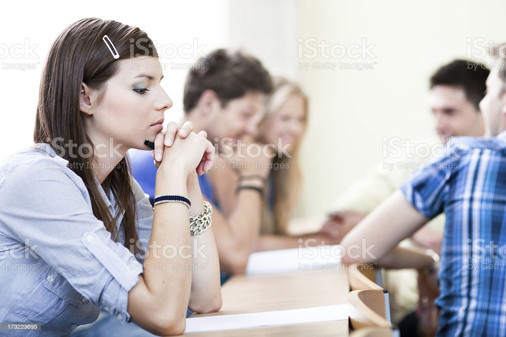Sad student royalty-free stock photo