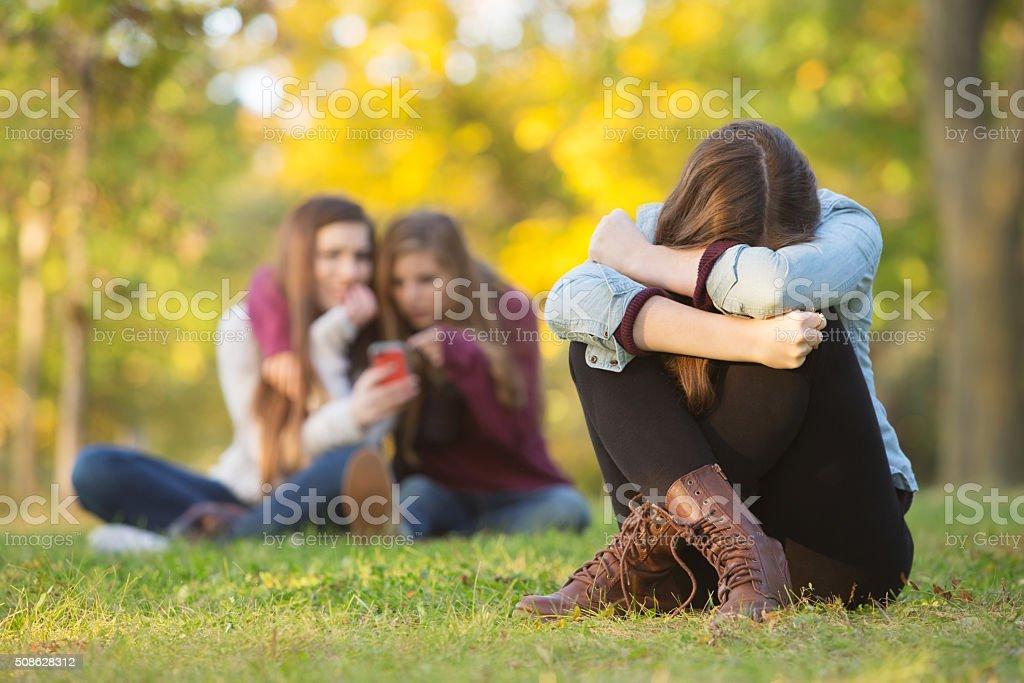 Sad Teen Hiding Face stock photo