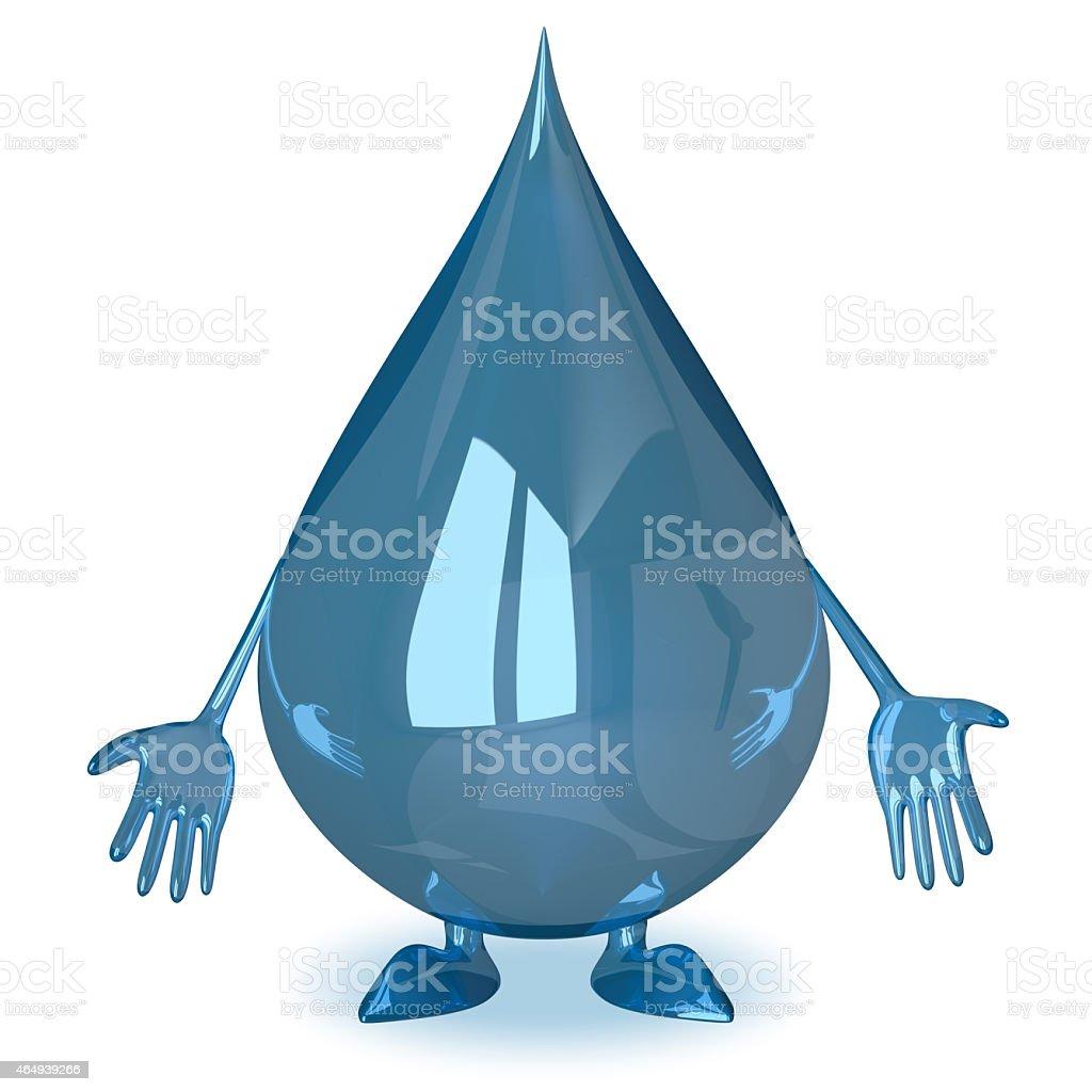 Sad water drop character stock photo