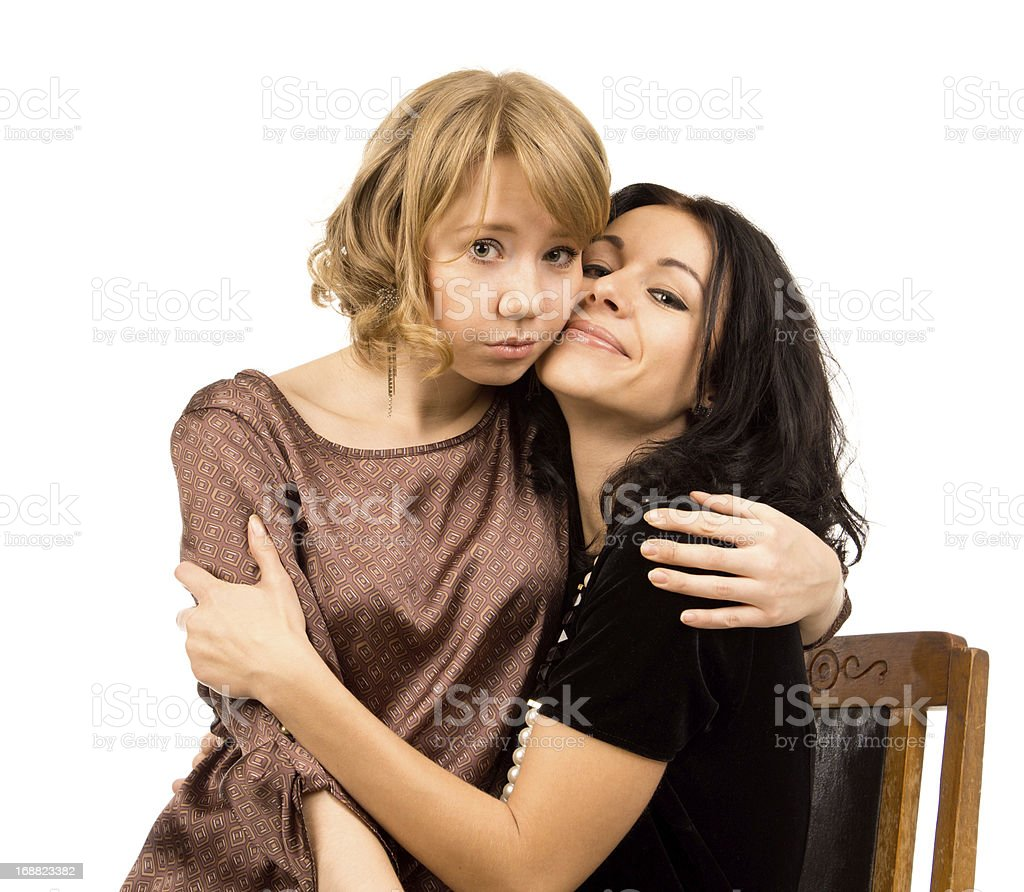 Sad woman being comforted by a friend royalty-free stock photo