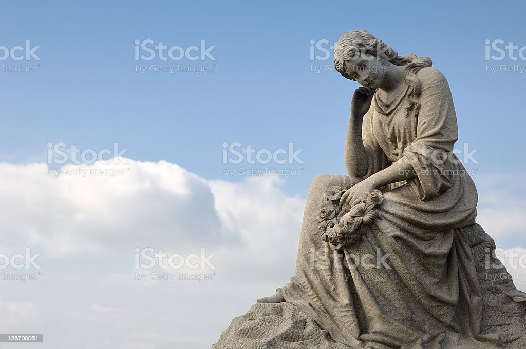 Sad Woman Cemetery Statue Against Cloudscape royalty-free stock photo
