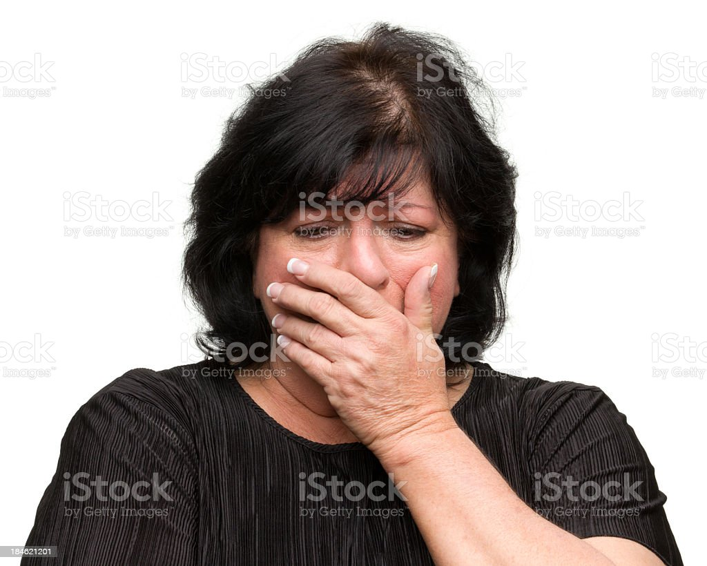 Sad Woman Covers Mouth royalty-free stock photo