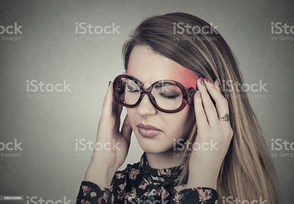 Closeup portrait sad young woman in glasses with worried stressed...