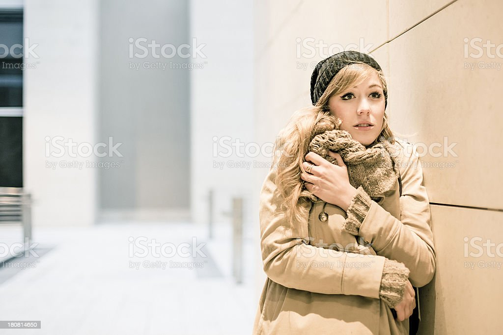 Sad woman outdoor royalty-free stock photo