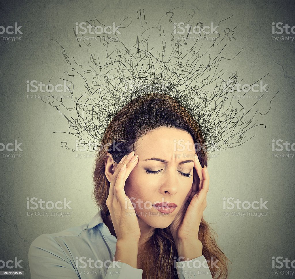 sad woman stressed face expression brain melting into lines stock photo