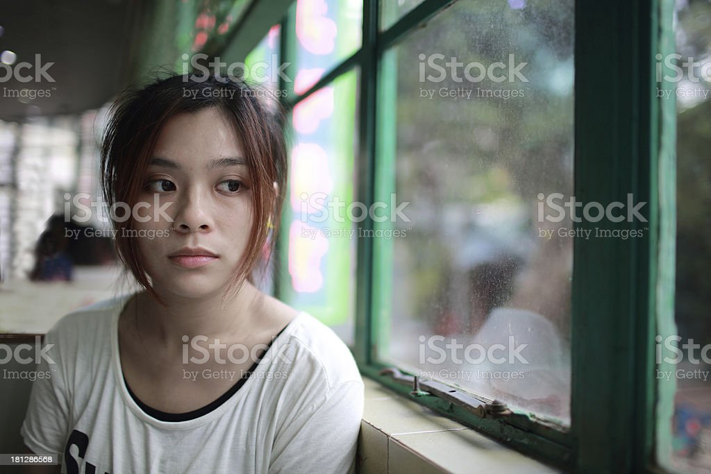 Sad woman waiting someone who is late stock photo