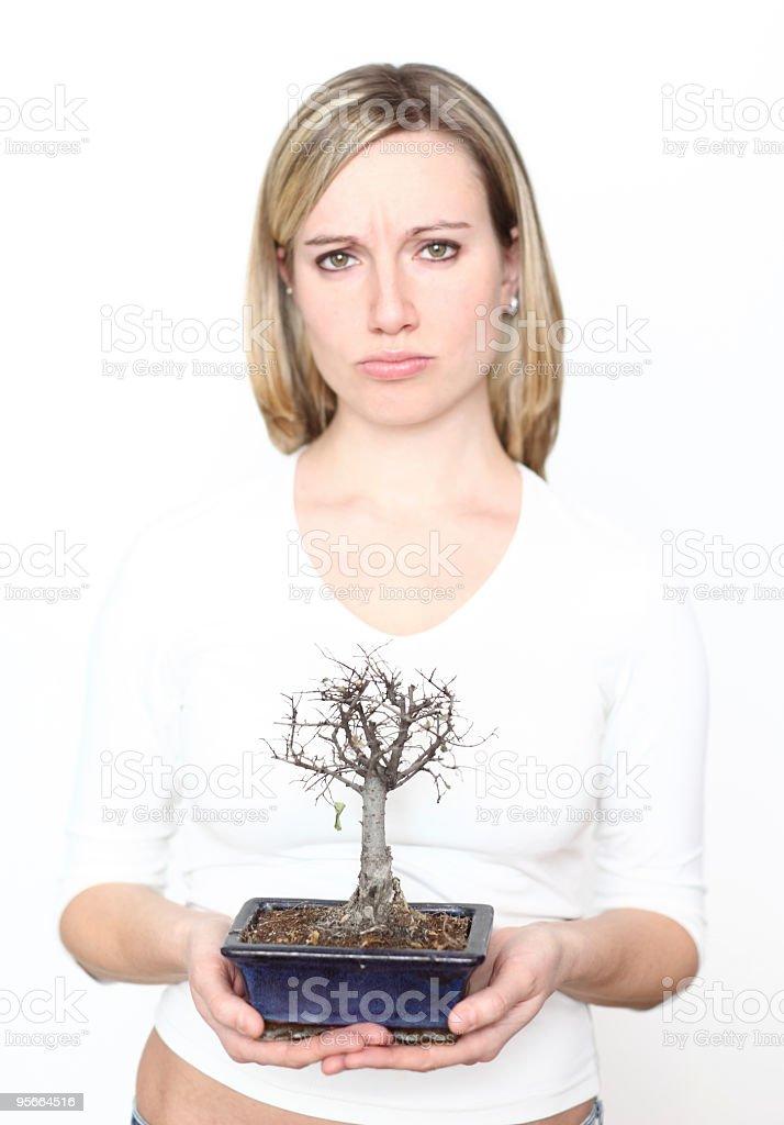 Sad woman with dead bonsai tree royalty-free stock photo