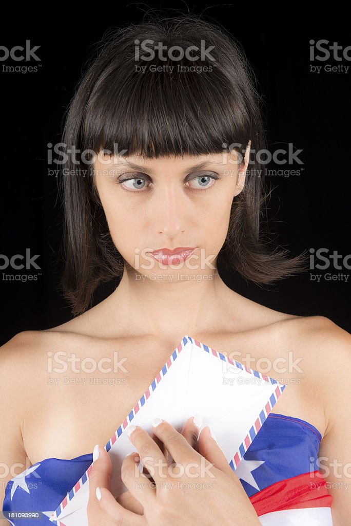 Sad Woman with Letter and USA Flag royalty-free stock photo