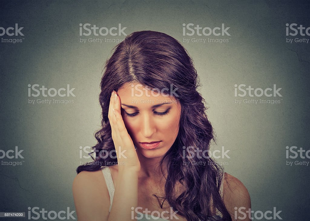 Closeup portrait sad young beautiful woman with worried stressed face...