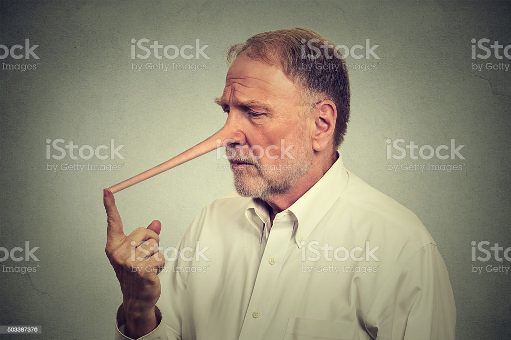 Sad worried man with long nose stock photo