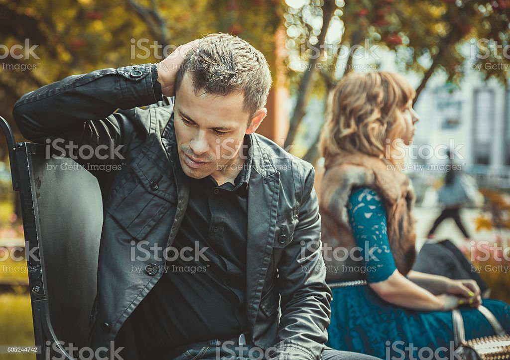 Sad young couple stock photo
