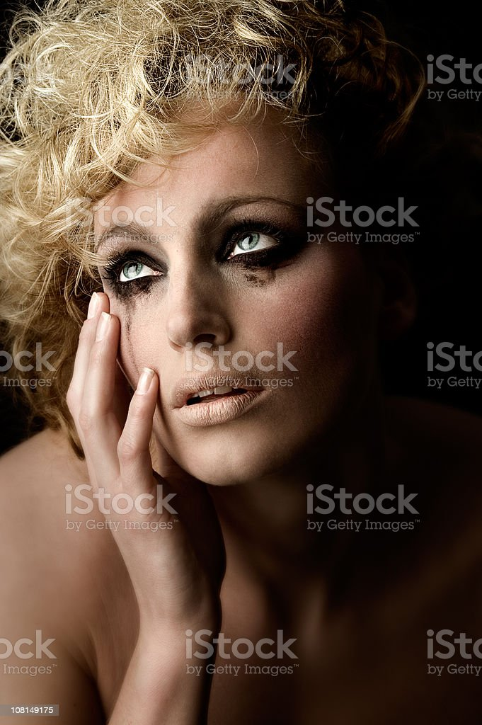 Sad Young Woman Crying stock photo