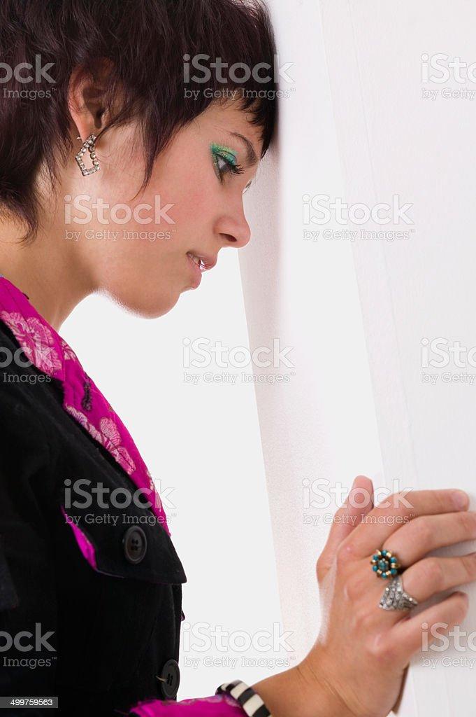 Triste jeune femme expression Anxiété photo libre de droits