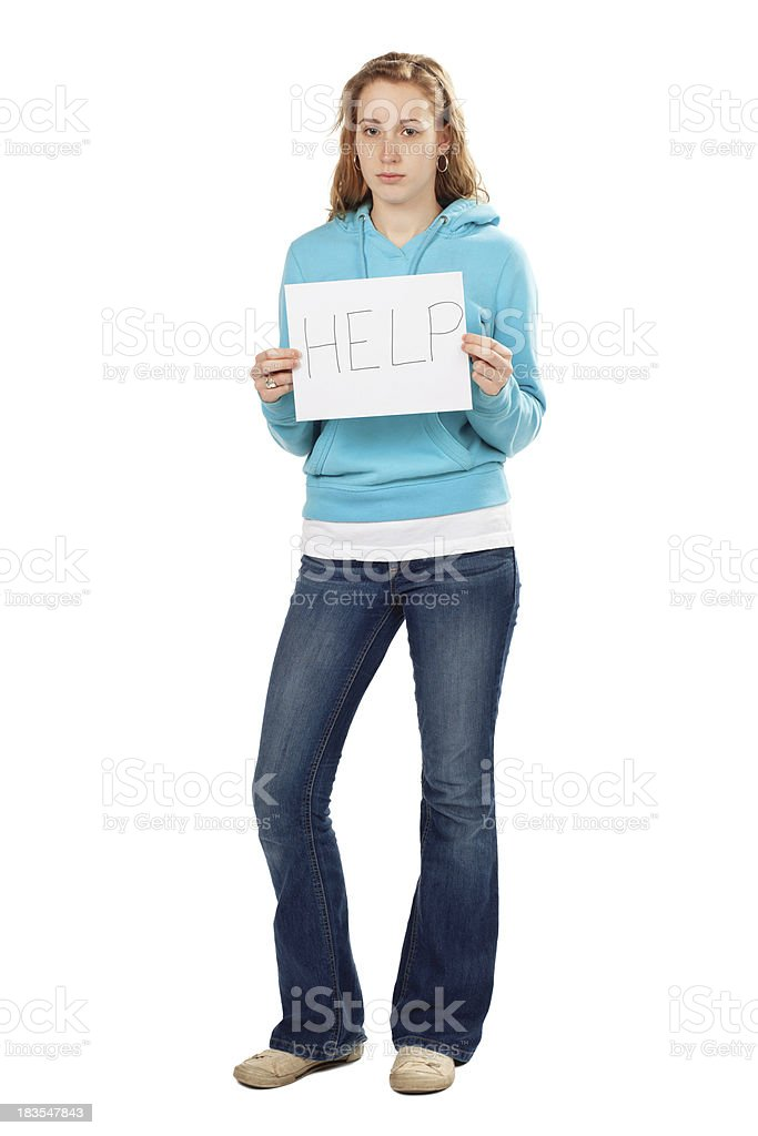 Sad Young Woman Holding Help Sign, Full Body Isolated royalty-free stock photo