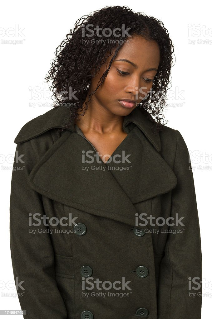 Sad Young Woman Looking Down royalty-free stock photo