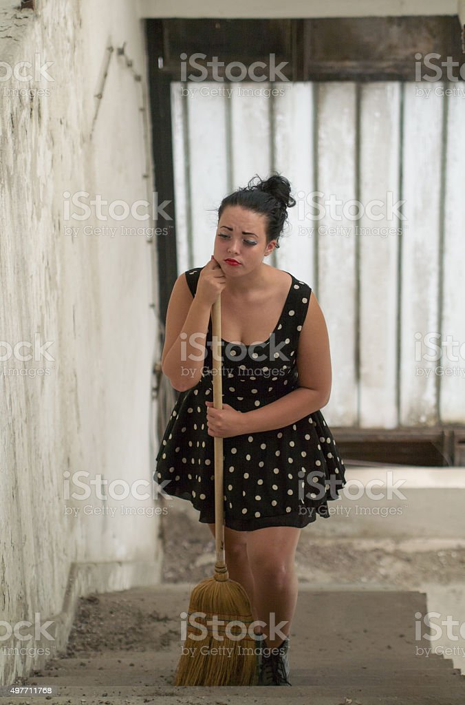 sad young woman stock photo