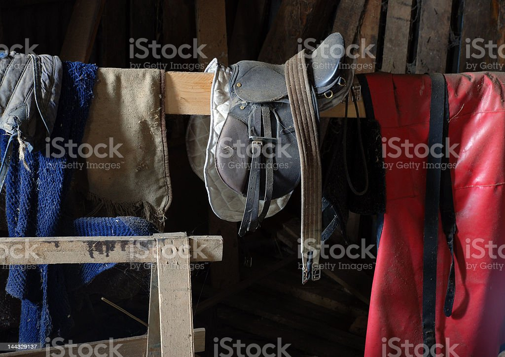 Saddle and horsecoat stock photo