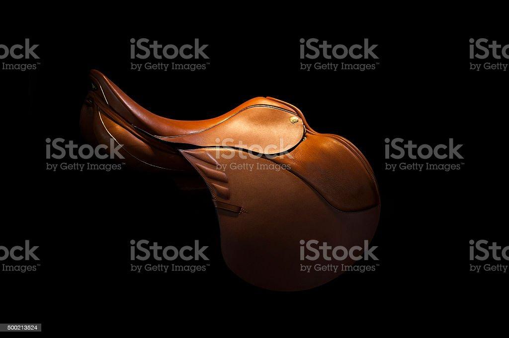 saddle on a black stock photo