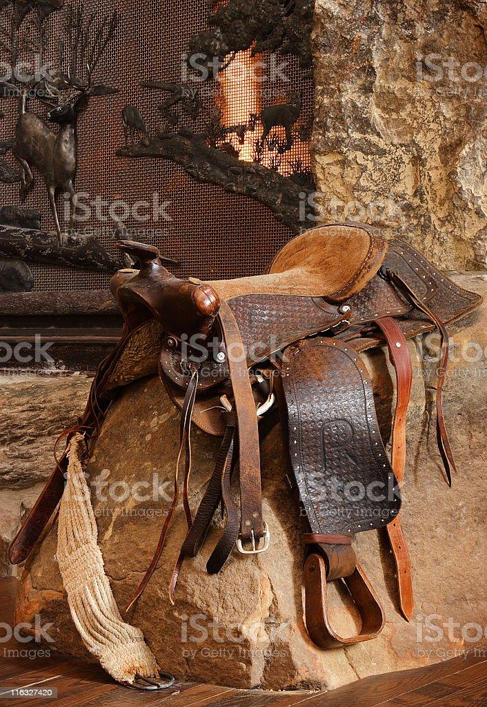 Saddle Riding Tack Fireplace Decor stock photo