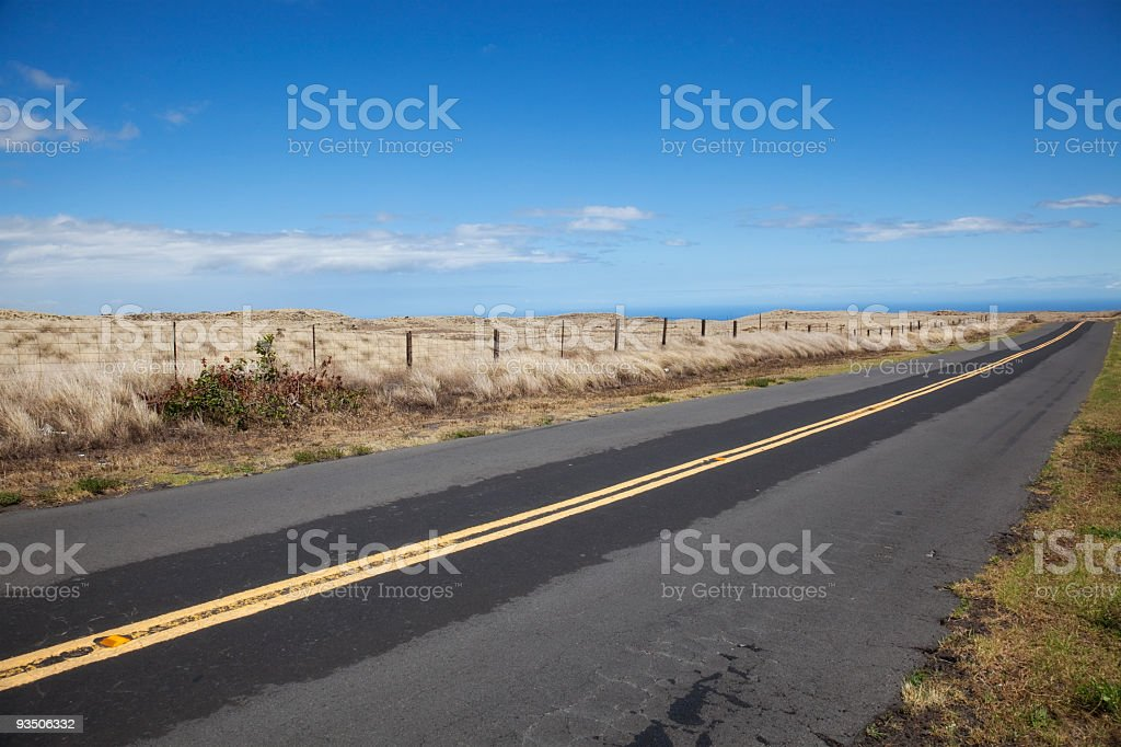 Saddle Road Looking Out to Pacific Ocean in Hawaii royalty-free stock photo