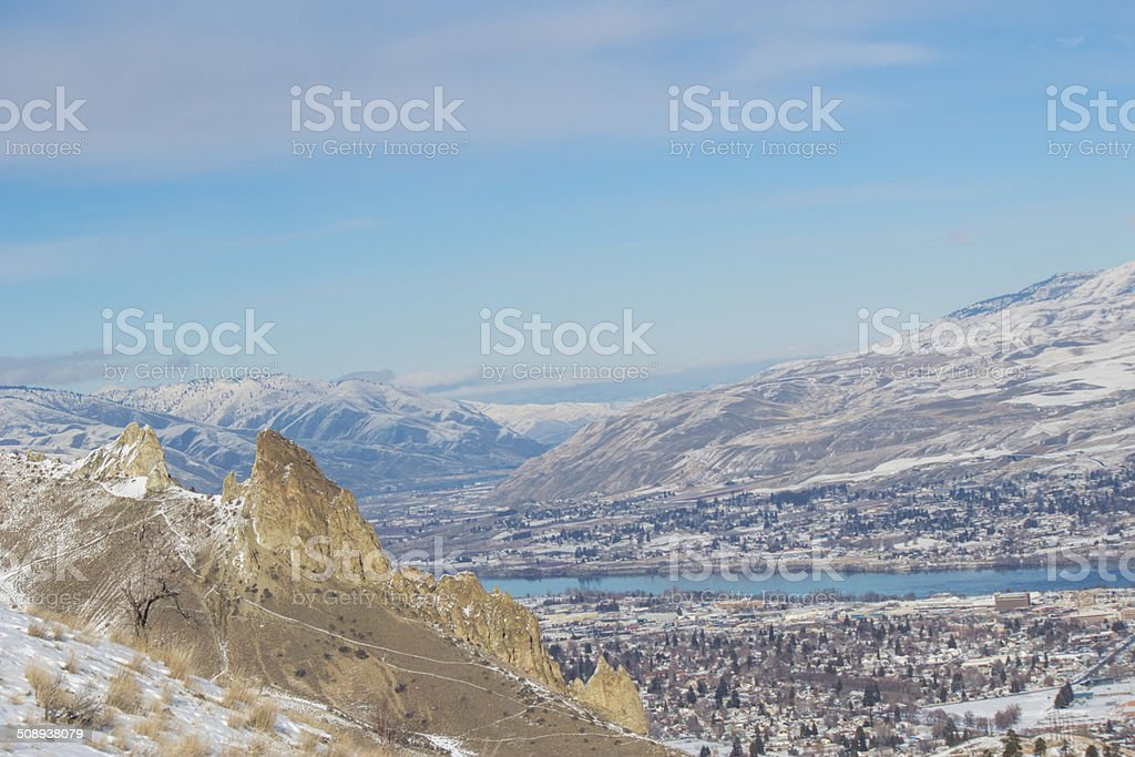 Saddle Rock over looking the Wenatchee Valley stock photo