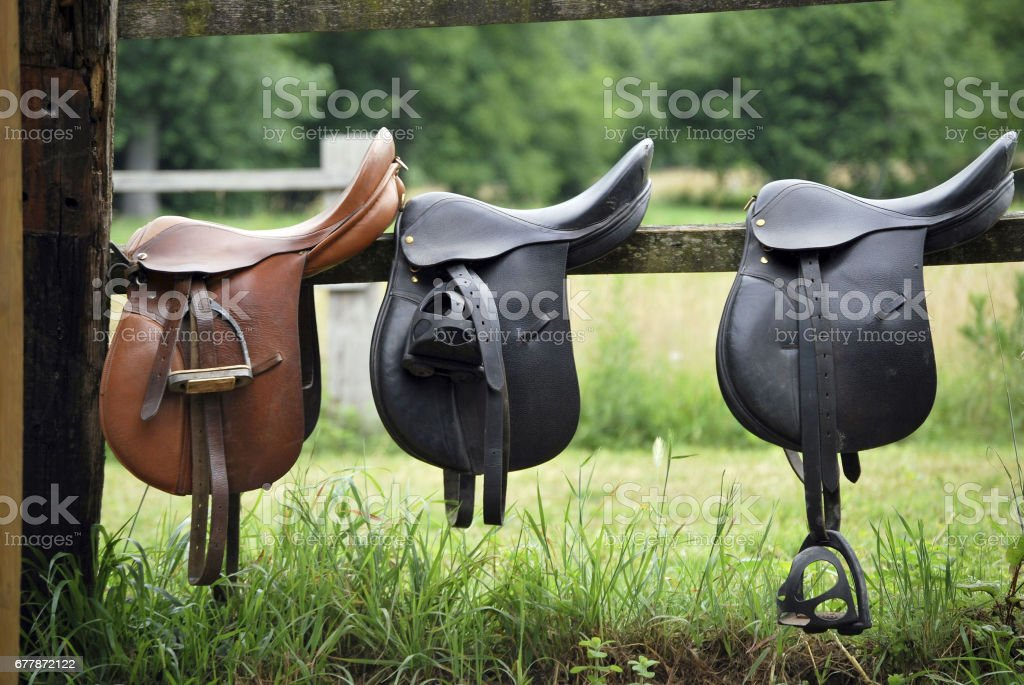 Saddles stock photo