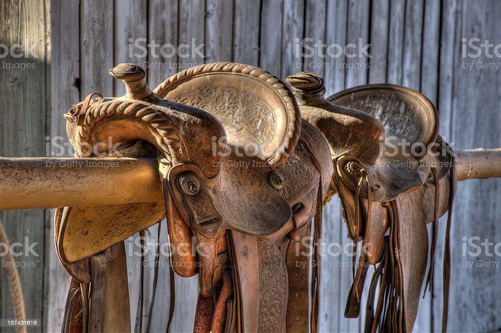 Saddles, two royalty-free stock photo