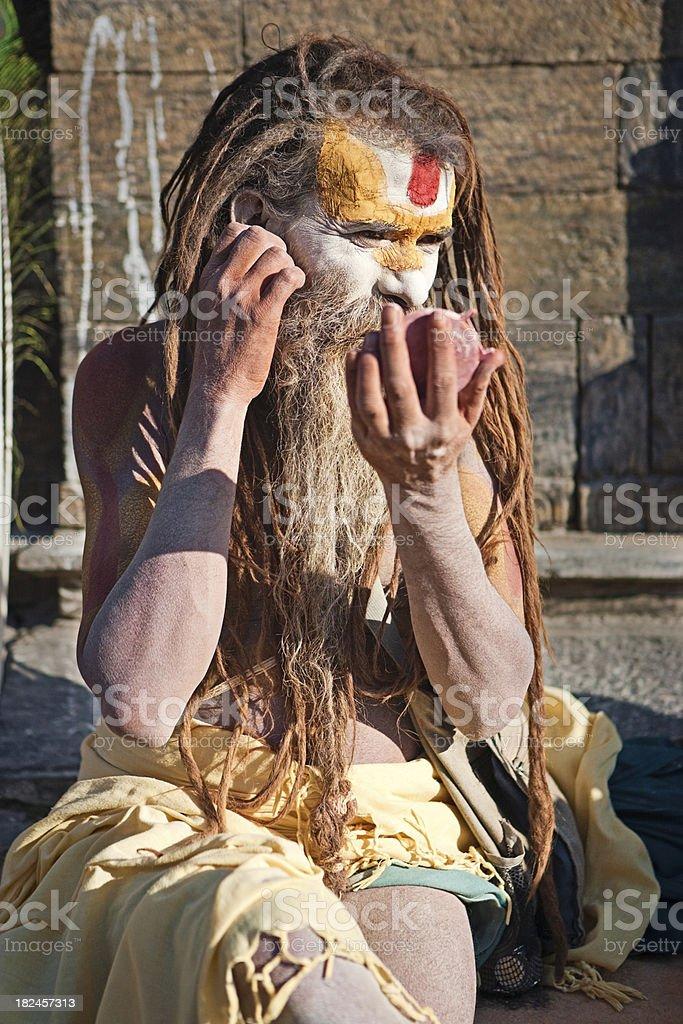 Sadhu - holy man doing makeup royalty-free stock photo