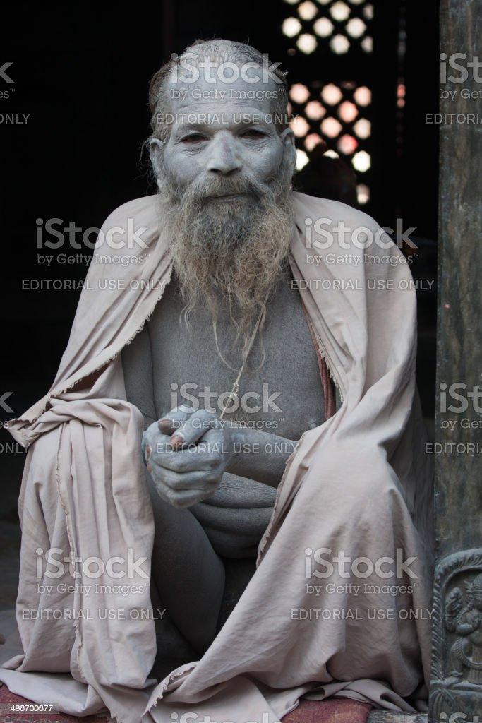 Sadhu (holy man) in at Pashupatinath, Kathmandu, Nepal royalty-free stock photo