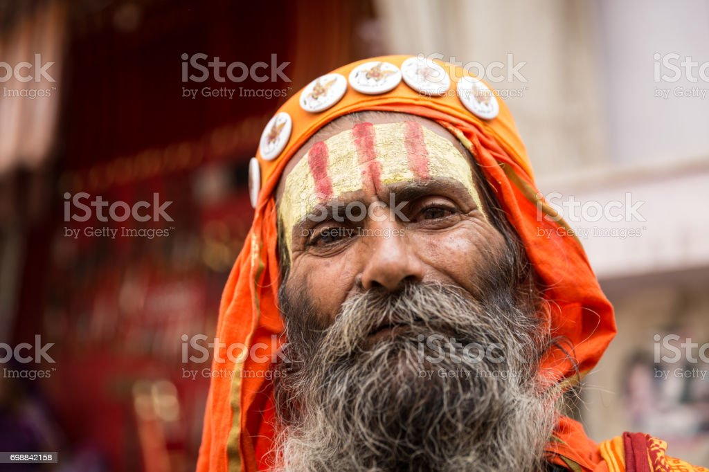Sadhu in Pushkar, India stock photo