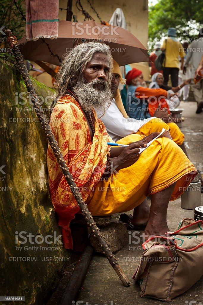 Sadhu in Rishikesh stock photo