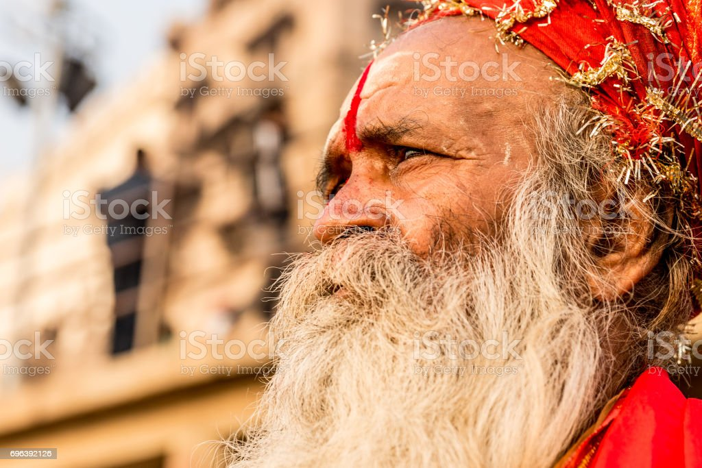 Sadhu in Varanasi, India stock photo