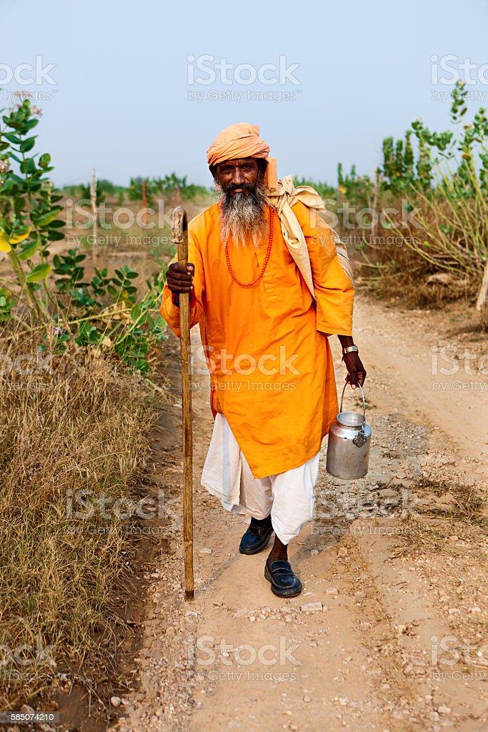 Sadhu - Indian holy man in desert village stock photo