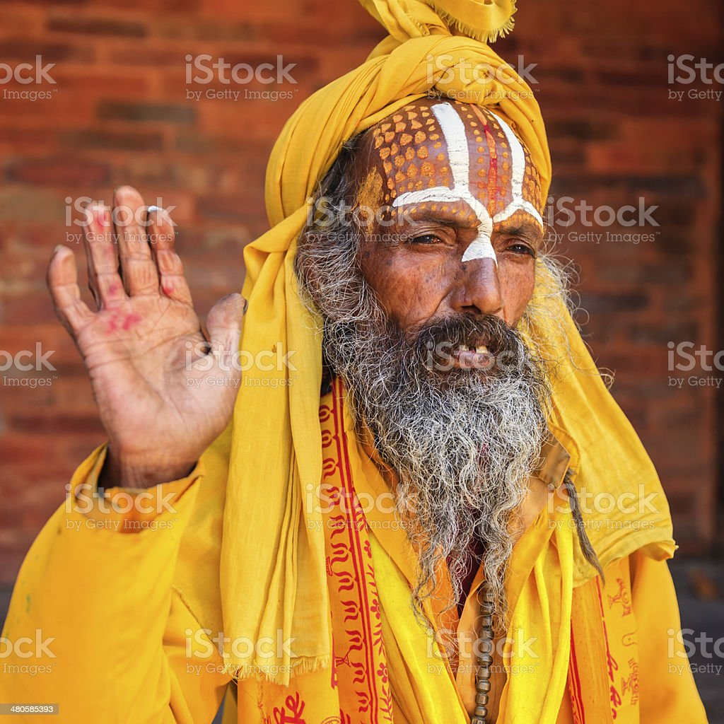 Sadhu - indian holyman sitting in the temple royalty-free stock photo