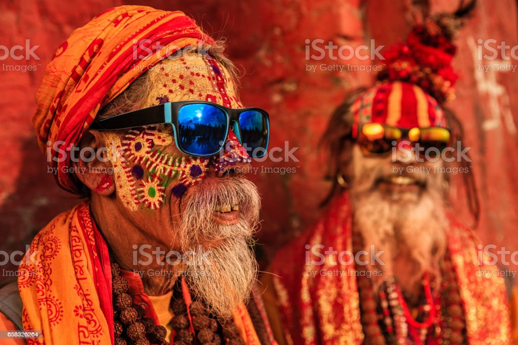 Sadhu - indian holymen sitting in the temple stock photo