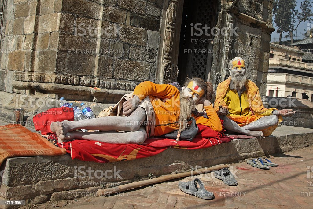 Sadhu men in Pashupatinath royalty-free stock photo