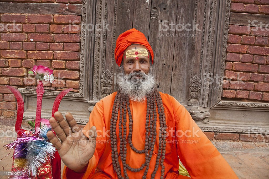 Sadhu with trident Nepal royalty-free stock photo